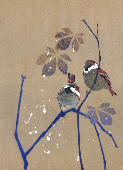 House Sparrows on brown paper