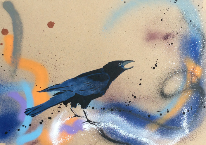 crow I on brown paper